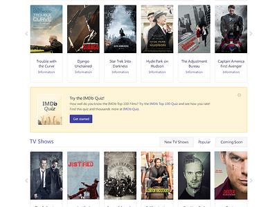IMDb Concept imdb concept flat clean ui redesign dark movies web design tv shows search