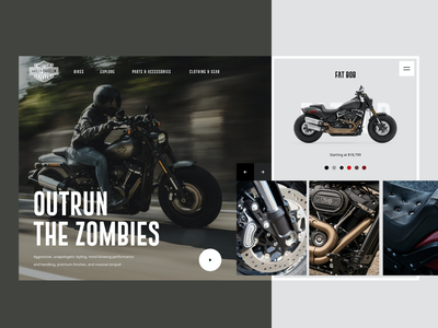 Fat Bob Livewire web product design motorcycle automotive clean dark sketch product