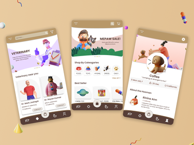 MePaw: A Pet Aap appdesign dog cat petapp userinterface uidesign 3d graphics 3d app ux figma design