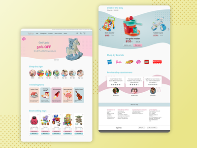 E-commerce site design for a toy store. user interface user experience uiux ui websiteforchildren children toys toywebite toystore website uiwebsite e-commerce design e-commerce shop toy figmadesign userinterface branding