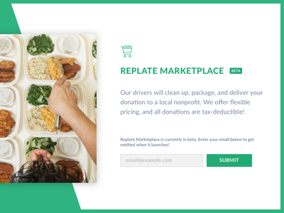 Replate Marketplace food promo splash design web replate