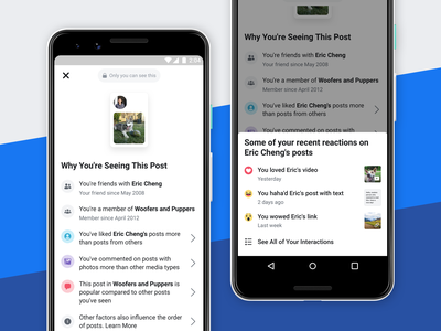 Why Am I Seeing This Post? transparency ios android news feed facebook design