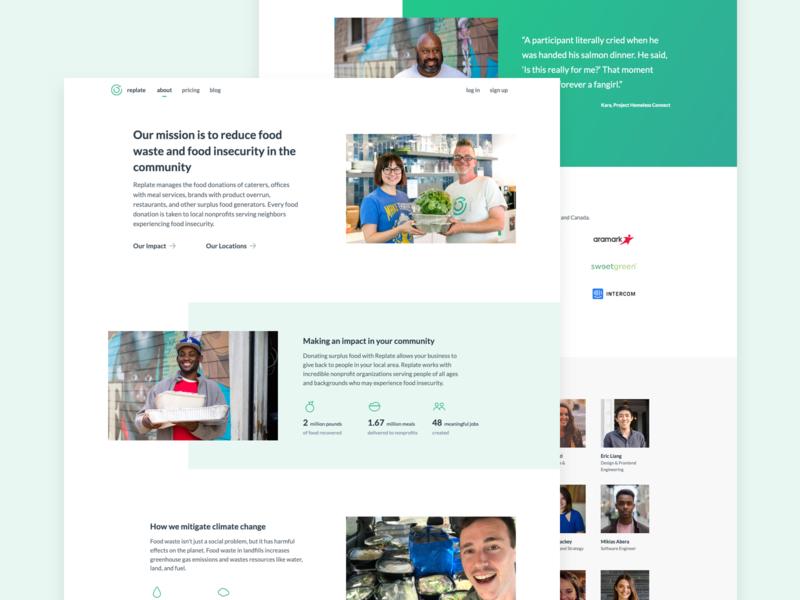 Replate Website Redesign waste food web splash replate redesign ui website design