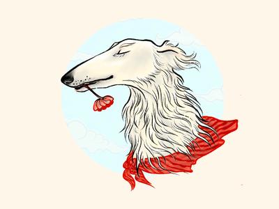 Berlongo the doggo romance character bandana dog borzoi procreate illustration