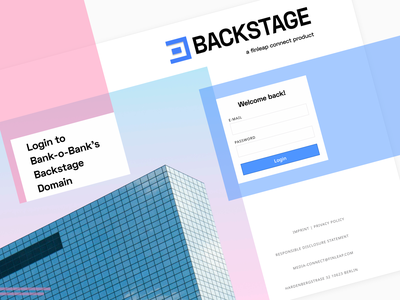 bend it like backstage uiux geometric form brand identity logo branding interface compliance web login screen corporate finance banking business login desktop ux ui