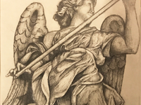 Drawing of Statue outside of Castel St. Angelo