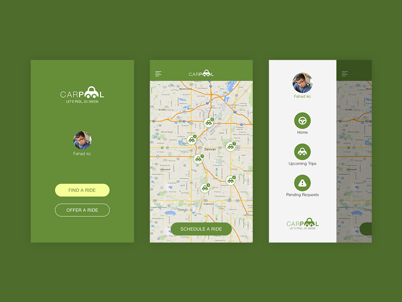 Carpool App by Fahad Designs on Dribbble