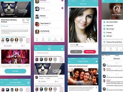 Qnect - Mobile App ux uiux ui socialticketing socialnetwork qnect fd fahaddesigns australia appdesign