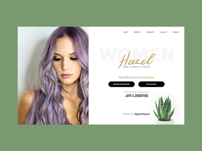 Hazel Salon Landing Page womenbeautyparlour womensalon womenbeauty webux webui websitedesign homepage landing beauty salon hazel