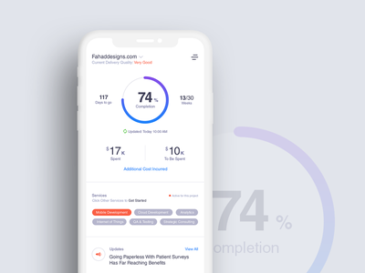 Project Planning & Tracking App - Dashboard V2 marketingapp promotional companyservices fd uiux design easytracking usefulforclient iphonex iphone10 trackingapp projectmanagement uiux dashboard design ux ui fahaddesigns