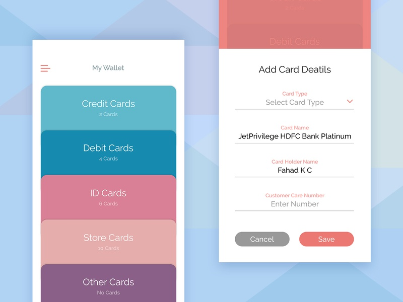 Card Vault - Mobile App user friendly wallet card stack android app iphone app card colors pastel color app uiux ui fahaddesigns camera screen vault shopping card debit card credit card secure cards wallet app