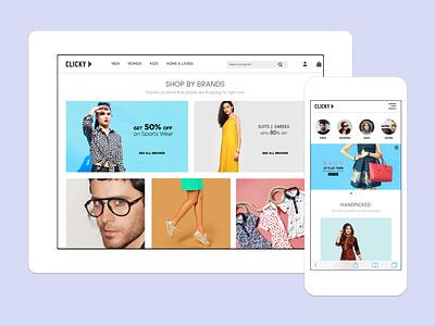 Clicky - eCommerce Website ui ux design ecommerce design shopping website websitestyle responsive website ecommerce shopping app clicky shopping online fahaddesigns