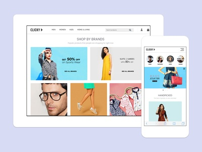 Clicky - eCommerce Website ui ux design ecommerce design shopping website websitestyle responsive website ecommerce shopping app clicky shopping online fahaddesigns