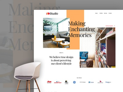 Interior Stdio Website 2020 red orange white user experience design studio website interior portfolio portfolio website 2019 trend visual design user interface design home page design landing screen architecture website parallax scrolling parallax website interior design website user interface fahaddesigns 2019 website design