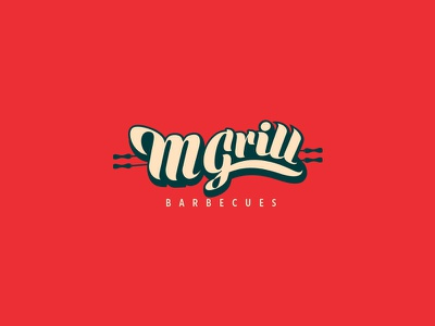 M Grill Barbecues -  Logo Design brand identity design green red fahaddesigns mgrill grill restaurant design restaurant branding restaurant logo barbecues