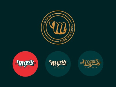 M Grill Barbecues - Logo Design seal stamp restaurant branding restaurant design restaurant logo logo design brand identity branding brand identity design uiux fahaddesigns grilling orange red gold green restaurant barbecues
