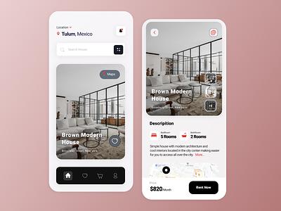 Rental App Design minimal illustrator ui ux branding illustration design