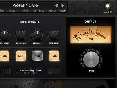 Tape plugin completed gui audio design ui plugin ux tape analog music software synth studio