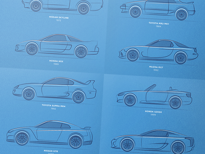 Design Lines - Japan's Greatest v2 print poster lines japan japanese automobile automotive illustration jdm design car cars