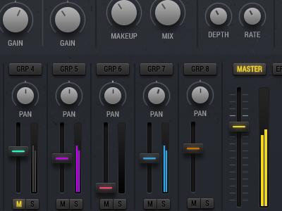 UI Details - Mixer Screen music kontakt drum machine synth design ui