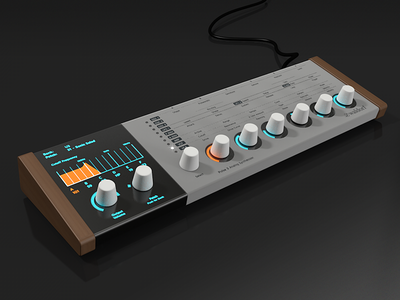 Pulse 3 Analog Synthesizer music hardware rendering 3d c4d synthesizer synth design ui