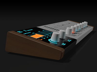 Pulse 3 Analog Syntheizer - Side View music hardware rendering 3d c4d synthesizer synth design ui