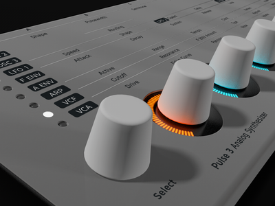 Puse 3 Analog Synthesizer - Knobs music hardware rendering 3d c4d synthesizer synth design ui