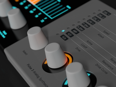 Pulse 3 Analog Synthesizer - Knobs Revisited industrial design music hardware rendering 3d c4d synthesizer synth design ui