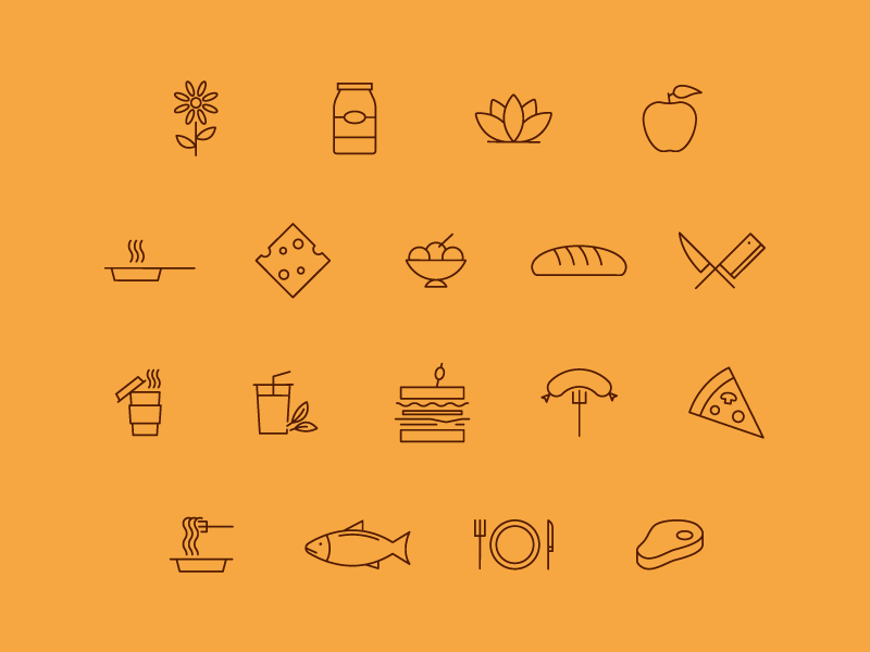 Food Icons illustration line lines restaurant delicious iconography icons food