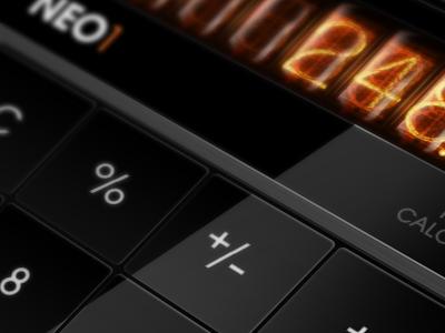 Glossy & Glow ui calculator keypad nixie tubes iphone