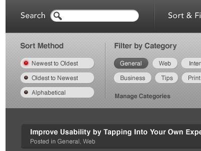 Search, Sort & Filter web blog design search sort filter