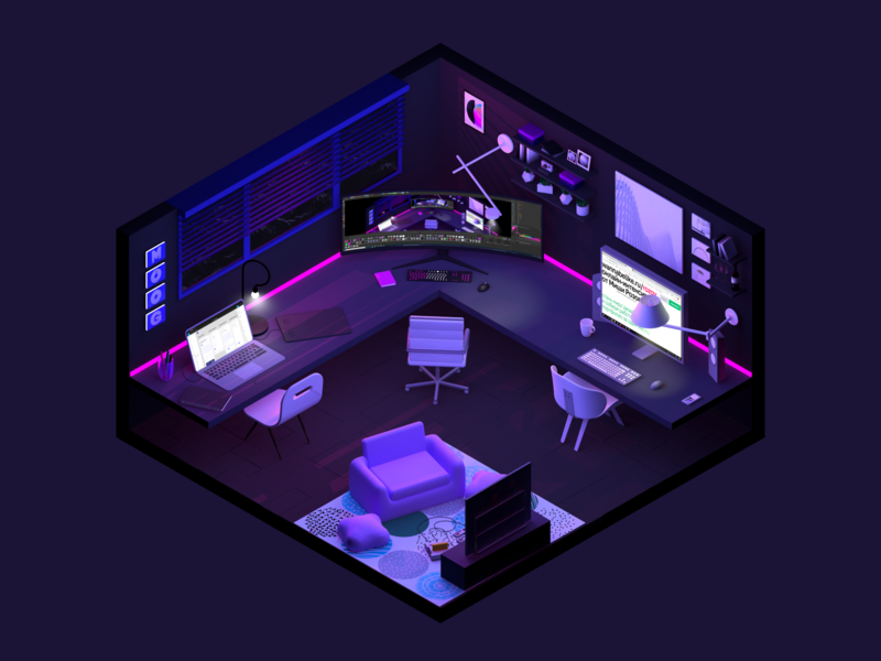 3D room render light dark cinema4d isometric room 3d dchoobaka