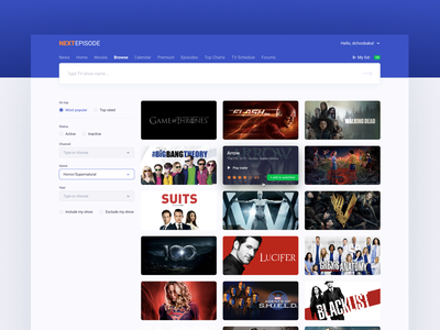 NextEpisode browse page redesign catalog concept ux site figma design ui web dchoobaka