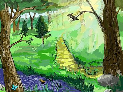 Forest sketch photoshop illustration graphic design