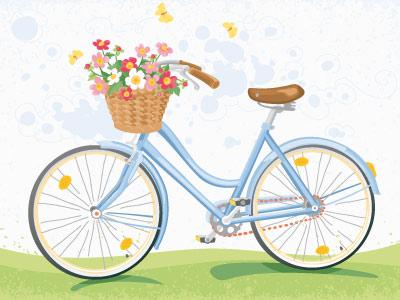 Vintage Bicycle With Flower Basket