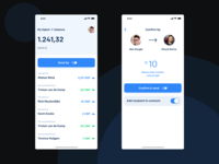 XRP Tipbot app: home and confirmation screens.