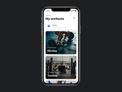 Gymlist Workout App homescreen history fitness gym cards ios mobile workout app workout