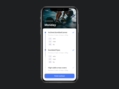 Gymlist Workout Screen workouts reps sets goals fitness ux ui design uidesign workout of the day workout app workout workout tracker blue design app clean