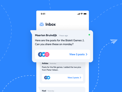 Fuse Social Media App sport team sports android ios blue typography minimal clean design app application agency interactiondesign uxui ux inbox socialmedia social app app design app ui
