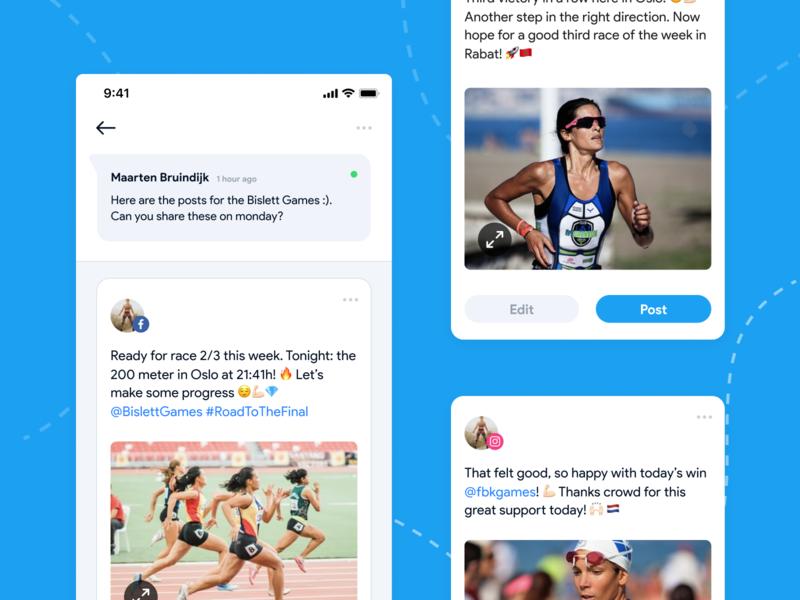 Edit and post design clean ux design minimal blue post edit socialmedia agency sport development reactnative android ios social app app interactiondesign ui ux