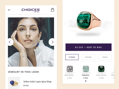 Shop the look - Jewellery Configurator agency jewelry jewels jewellery shop purple luxury branding webdesign react android app development ios android luxury uiux ux ui shopping app mobile shop