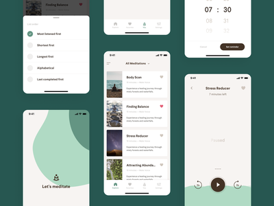 Meditation App Redesign ui clean agency minimal green ios android concept react mindfulness ux  ui ux mobile ui meditation app redesign meditation