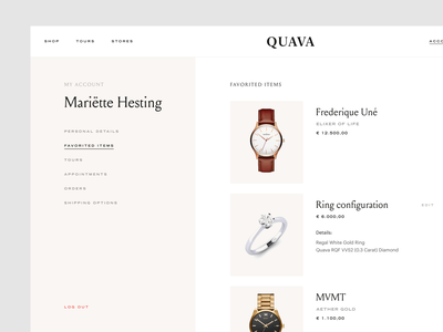 My account typography soft beige minimal development agency react development uxui ui ux luxury classy ecommerce webshop jewelry shop jewelry