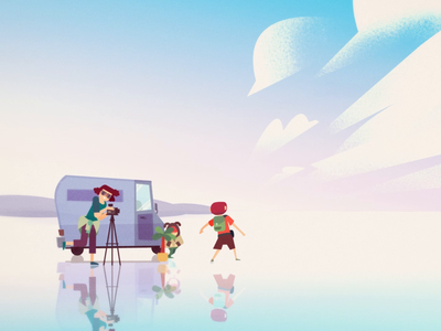 Hitchhikers - animated short movie cel animation celanimation framebyframe animate character design hitchhikers trailer landscape background design frame by frame cut out character animation character motion design 2d gif animation studio studio pigeon animation illustration