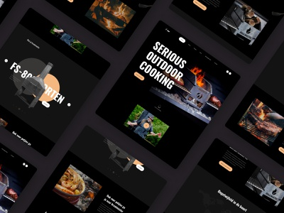 Barbecue grill platform equipment meat dark theme homepage design clean ui website dark ui branding uidesign design web ui clean