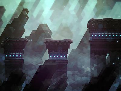 Polygon Caverns game pixel art 8bit mockup retro ios platformer hexels mobile
