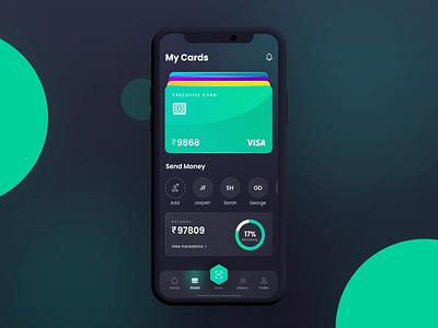 3D Wallet Concept cinema 4d after effects visa money wallet ui design glassmorphism cards ui app
