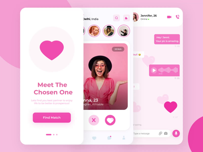 Dating App ui animation datingapp dating swipe uitrends appdesign designinspiration uidesign dribbble heart 3d pink date love motion design motion graphics cards ui after effects app