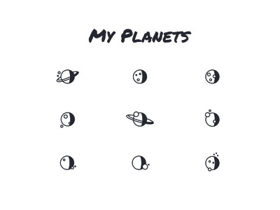My Planets icons planets rounded minimal clean galaxy moon shadow