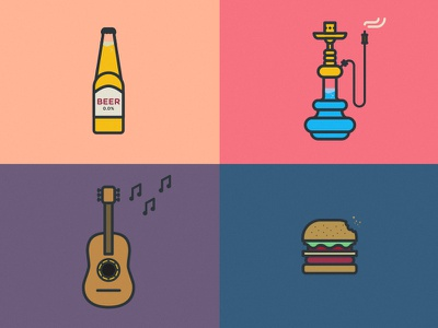 A day in Granada beer guitar burger water smoke hookah music notes rounded icons illustrations